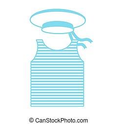 Vest and hat sailor. Military clothing. Army naval uniform