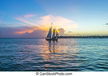 vest, båd, solnedgang, nøgle, afsejlingen