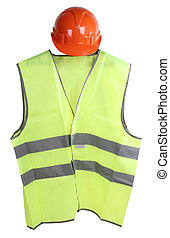 Vest - Construction hard hat and high visibility vest on a...