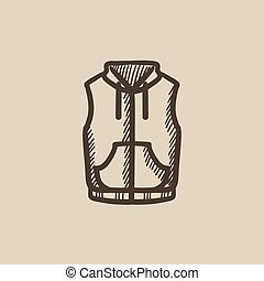 Vest down jacket sketch icon.