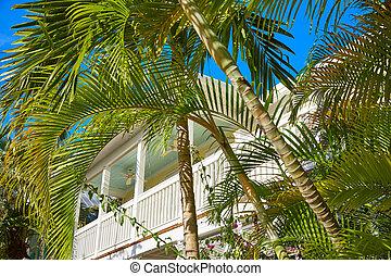 vest, florida, downtown, huse, gade, nøgle