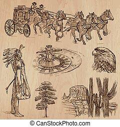 vest, -, hånd, vektor, vild, stram, pakke
