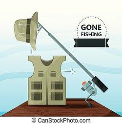 vest hat and rod fishing equipment vector illustration