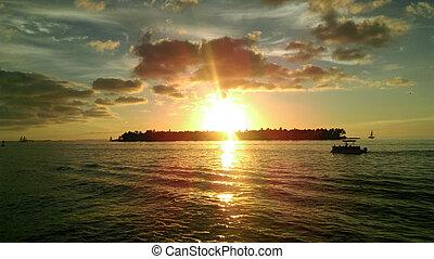 vest, solnedgang, nøgle