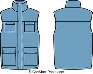 Vest - Vector illustration of waistcoat. Front and back