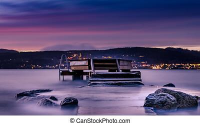 vestby, scandinavie, krokstrand, plage, viken, municipality, fils, norvège, oslofjord, europe