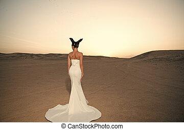 veste, brunetta, indietro, moda, hair., vista., vestire, ragazza, sensuale, bianco, donna, bellezza, fascino, matrimonio, cielo, sguardo, dunes., sposa, sabbia, tramonto, desert., modello