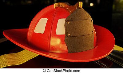 veste, casque, pompier
