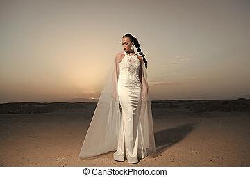 veste, donna, moda, sguardo, bellezza, sky., trucco, modello, dunes., fascino, matrimonio, sabbia, brunetta, tramonto, hair., desert., ragazza, vestire, bianco, sensuale, sposa