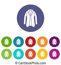 veste, ensemble, icônes
