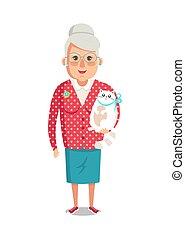 veste, femme, chouchou, chat, personnes agées, grand-mère, rouges