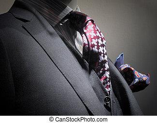 veste, gilet, gris, mouchoir, cravate