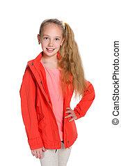 veste, girl, peu, mode, rouges