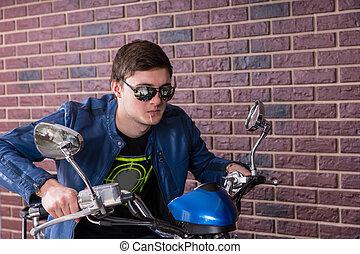 veste, homme, nuances, moto, beau