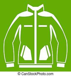 veste, hommes, vert, hiver, icône