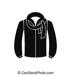 veste, icône, style, noir, simple