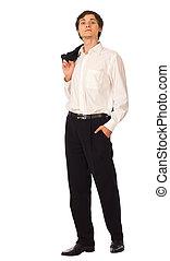veste, jeune, homme affaires