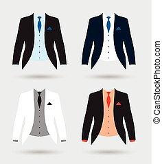veste, mariés, ensemble, équipement, complet