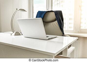 veste, photo, chaise, bureau, pendre