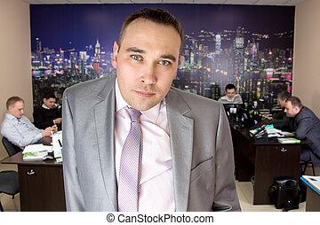 veste, photo, gris, homme affaires