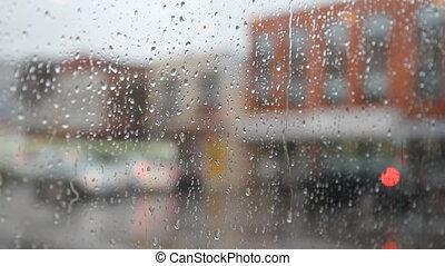 veste, pluvieux, city., by., promenades, homme