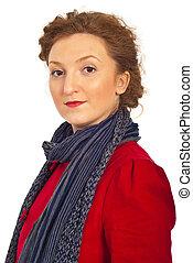 veste, portrait, femme, rouges, beauté