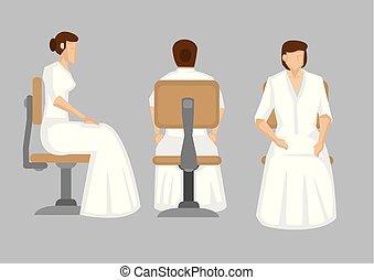 veste, seduta, carattere, lungo, elegante, vettore, illustrazione, bianco, signora, cartone animato