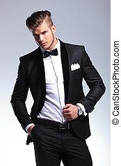 veste, unbuttoned, homme affaires