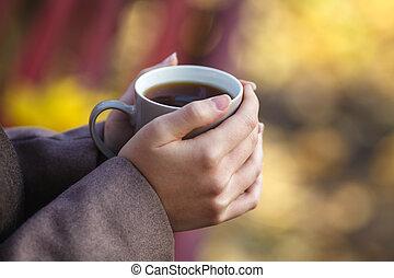 veste, vie, concept, style de vie, tenue, ville, séance, printemps, jeune, automne, café, thé, dehors, banc, girl, ou, style