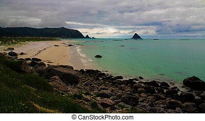 vesteralen, andoya, sziget, bever, falu, partvonal, ov, norvégia, táj