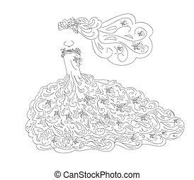 vestido, arte, casório
