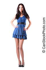 vestido azul, mulher, adelgaçar, jovem
