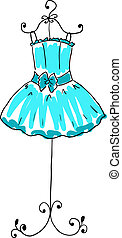 vestido azul, percha, magnífico