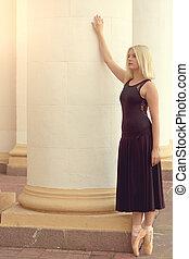 vestido, bailarín de ballet clásico, negro, pointe