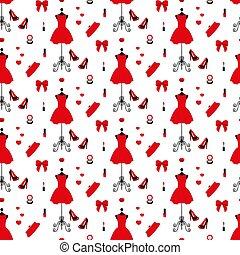 vestido, batom, pó, vindima, pattern., seamless, prego, alto, polish., mannequin, embreagem, calcanhares, saco, vermelho