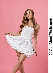 vestido, beleza, jovem, branca, mulher