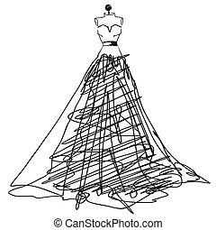 vestido, blanco, negro, diseño, boda