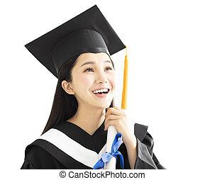 vestido, boné, graduação, celebrando, menina, feliz