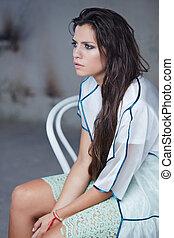 vestido branco, atraente, mulher