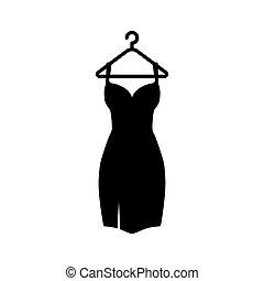 vestido, cabide, pretas, icon.vector, ilustração