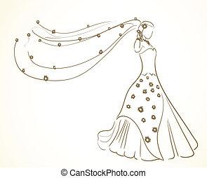 vestido casamento, com, flores, em, véu