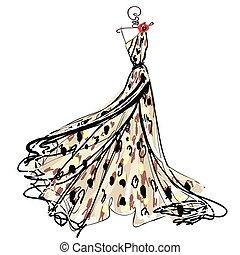 vestido casamento, desenho, isolado, branca