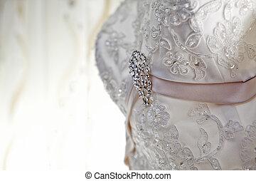 vestido casamento, jóia, agradável, luxo