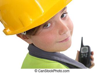 vestido, construção, trabalhador, criança