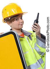 vestido, construção, trabalhador, cima, criança
