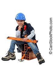 vestido, construtor, criança