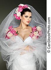 vestido cor-de-rosa, morena, elegante, cores, casório, decorado, sexual