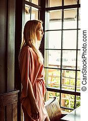 vestido cor-de-rosa, mulher, bonito, moda