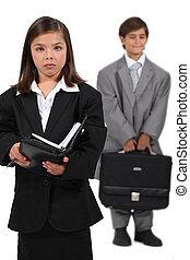 vestido, crianças,  businesspeople