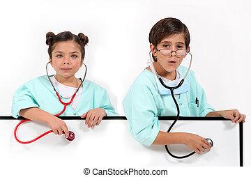 vestido, crianças, doutores